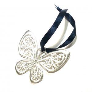sølv-blå-juletrepynt-sommerfugl