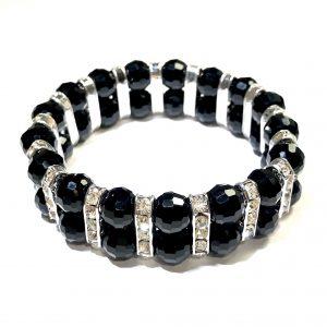 quartz-sort-elastisk-armbånd