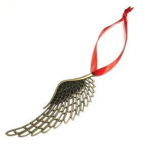 vinge-juletrepynt-rød-bronse-julepynt