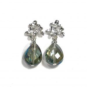 grønn-øreanheng-øredobber-ørepynt-glass-blomst