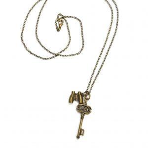 kikkert-nøkkel-bronse-smykke-halskjede