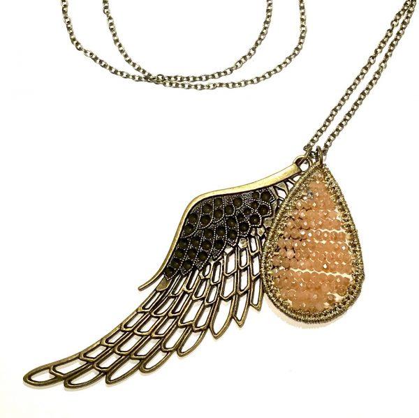 bronse-vinge-dråpe-smykke-halskjede
