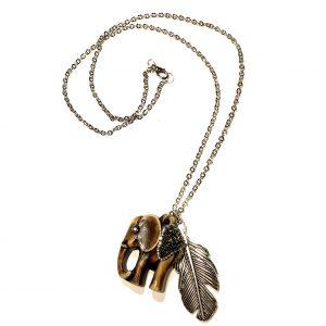 elefant-fjær-smykke-halskjede