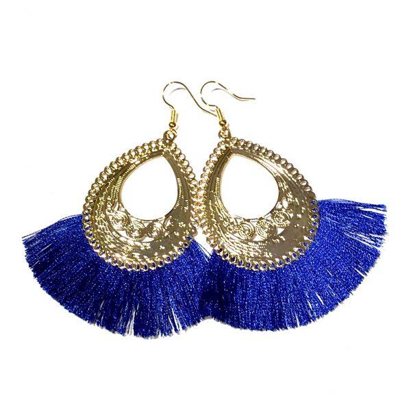 konge-blå-dusk-gull-ørepynt-øreanheng-øredobber
