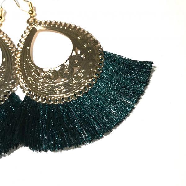 grønn-dusk-gull-ørepynt-øreanheng-øredobber