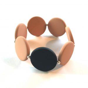 beige-sort-elastisk-armbånd