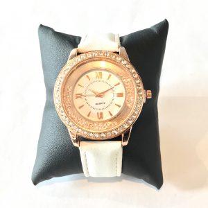rosegull-hvit-klokke-ur