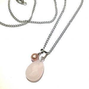rosenquartz-perle-smykke-halskjede
