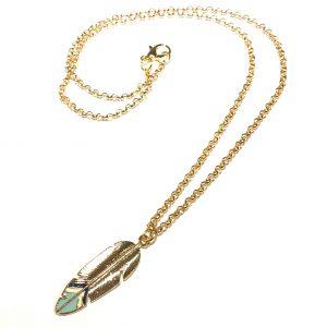 gull-fjær-smykke-halskjede