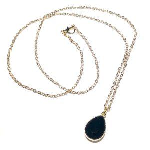 gull-sort-dråpe-smykke-halskjede