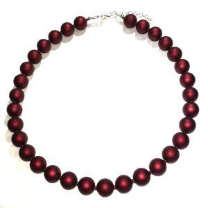 rød-matt-perle-smykke-halskjede