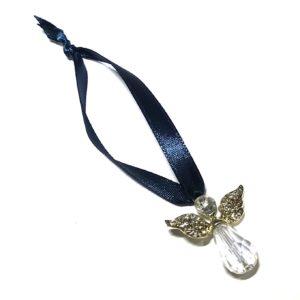 miniatyr juletrepynt-engel-blå