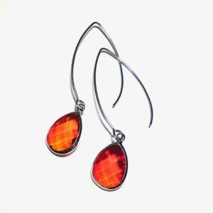 rød-orange-ørepynt-stål-øreanheng