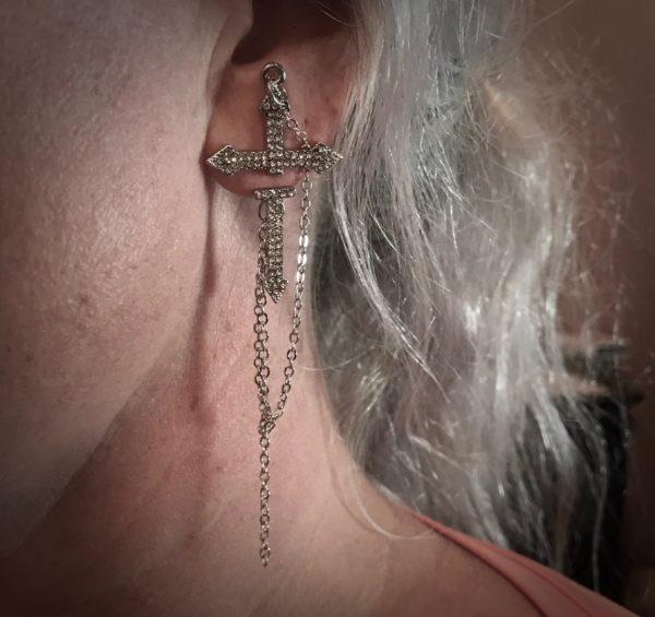 sølv-kors-ørepynt-øredobb