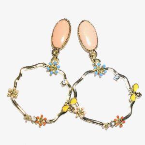 blomster-boho-bohem-rosa-øreringer-ørepynt