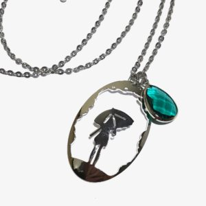 jente-paraply-grønn-dråpe-smykke-halskjede