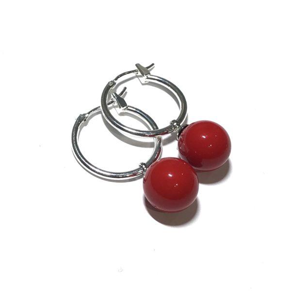 sølv-rød-øreringer