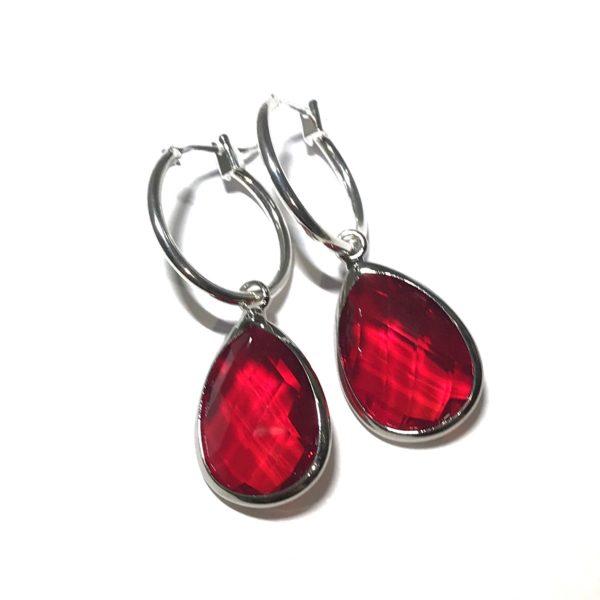 sølv-rød-øreringer-dråpe