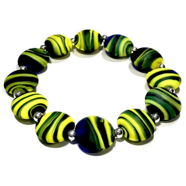 grønn-lampwork-håndlaget-elastisk-armbånd