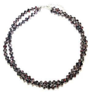 rød-sort-glass-to-raders-smykke-halskjede